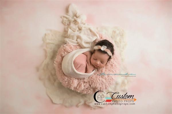 Peekaboo Light Blush Newborn Baby Faux Fur Photography Prop by Custom Photo Props