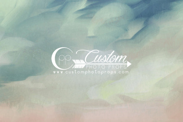 blue, green, peach, pink watercolor painting backdrop for photography