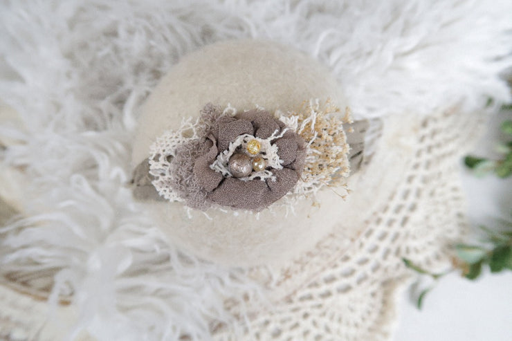 soft brown newborn baby girl silk and chiffon flower with pearl photography prop headband