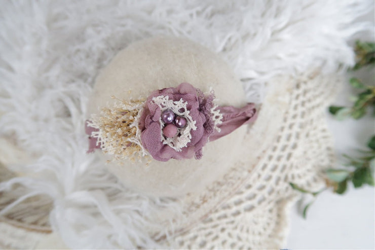 purple newborn baby girl silk and chiffon flower with pearl photography prop headband