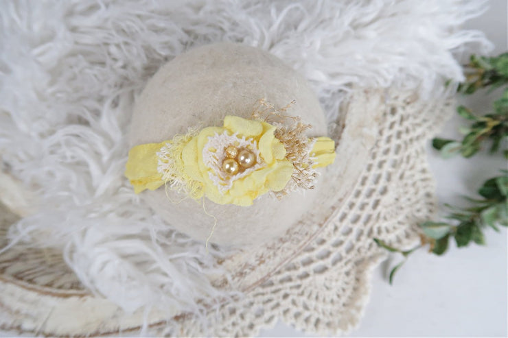 yellow newborn baby girl silk and chiffon flower with pearl photography prop headband