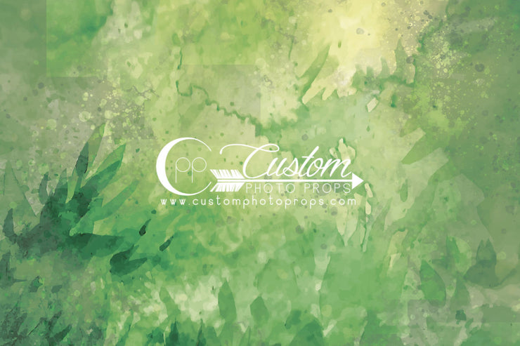 leafy green watercolor backdrop for photography by Custom Photo Props