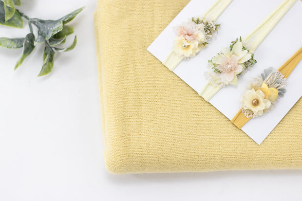yellow newborn baby girl floral headband photo prop set