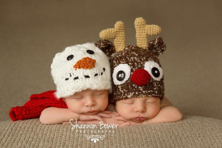 Newborn Baby Snowman Hat and Scarf