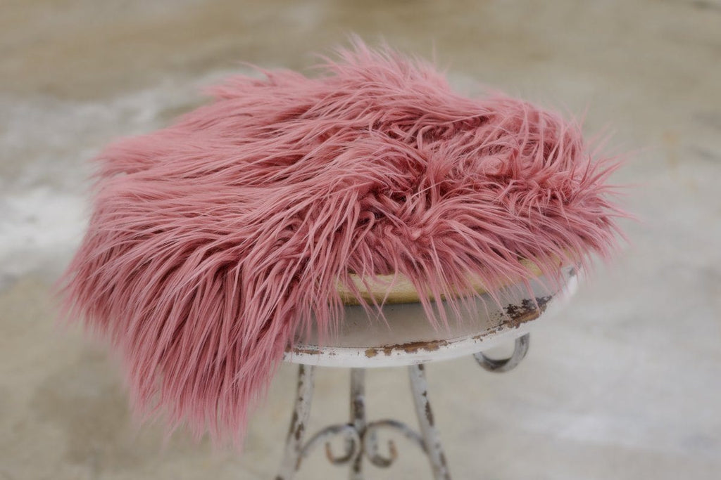 Rosebud Pink Vegan Sheepskin Faux Fur Photo Prop Fabric