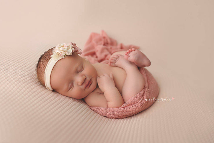 pink newborn girl swaddling wrap with headband