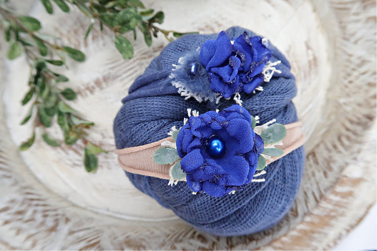 sapphire blue newborn baby girl photo prop set with swaddling wrap and headbands