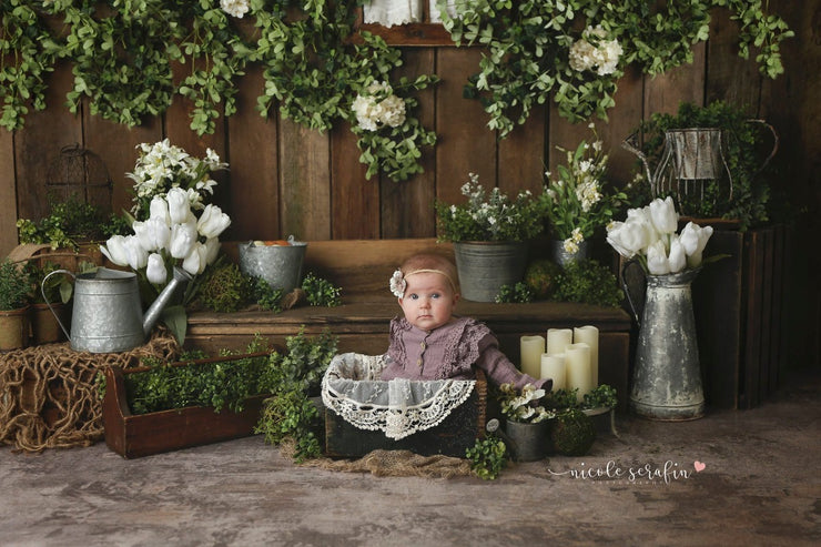 large plank, warm stained, hardwood flooring or wall backdrop with little girl in studio setup