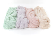 spring, pastel colors, newborn baby boy and girl textured, hand knit, mohair swaddle wraps