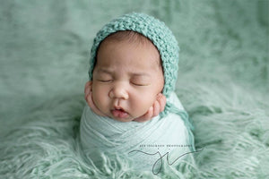mint green faux fur newborn photo shoot by custom photo props. Ships from Buffalo  New York