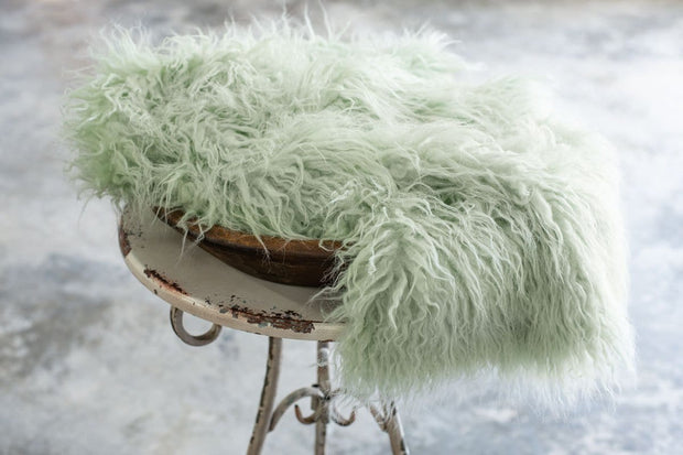 pastel green faux sheepskin Tibetan lamb fur flokati newborn photography prop fabric