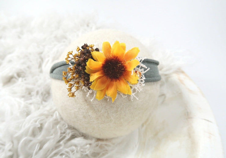newborn baby girl sunflower headband for infant photos or outfit