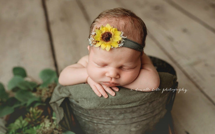 newborn baby handmade sunflower headband with adjustable tying band