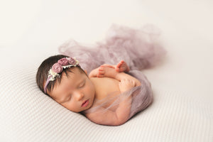 purple flutter drape newborn photography prop