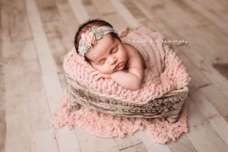 newborn baby girl small knit light pink layering blanket photography prop by Custom Photo Props