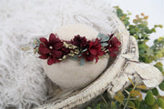 burgundy red flower newborn halo photography prop for newborn photographers