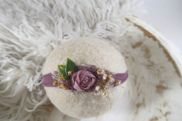 Newborn photography headband handmade with purple flower detail