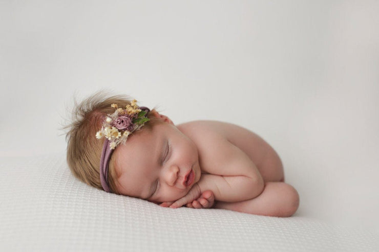 handmade newborn baby girl purple headband with adjustable band, dried flowers and handmade silk flower by Custom Photo Props. Nicole Serafin Photography