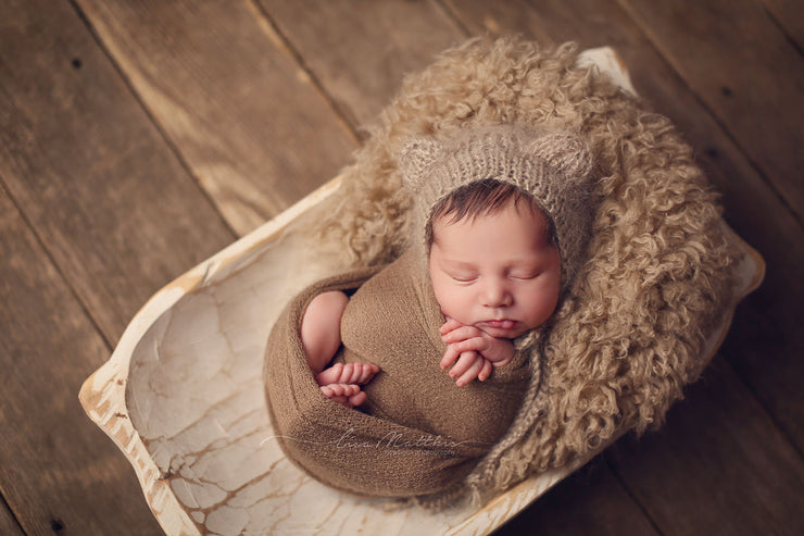tan brown newborn  baby swaddling photography props