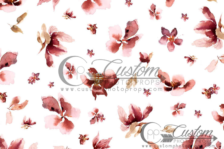 White and Pink Floral Backdrop | Windy Garden 2