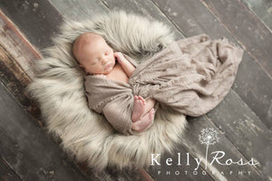 newborn photography props baby on Two-Toned Gray/Brown Faux Fur Fabric Newborn Baby Photo Prop