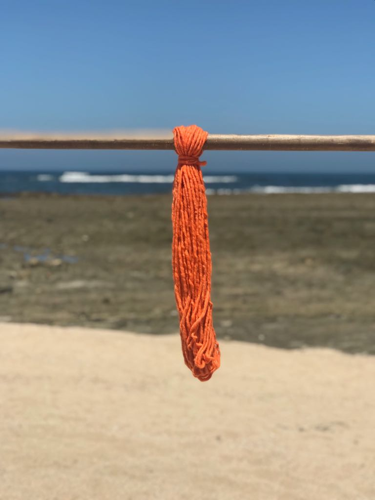 Hand Spun High Atlas Wool, 2-ply, Orange 1221