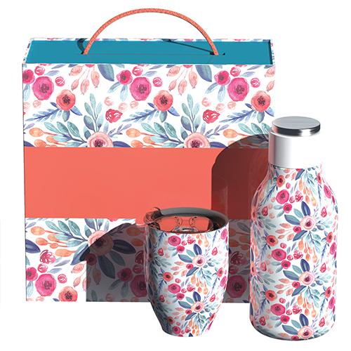 Urban Bottle and Imperial Cup Floral Gift Set
