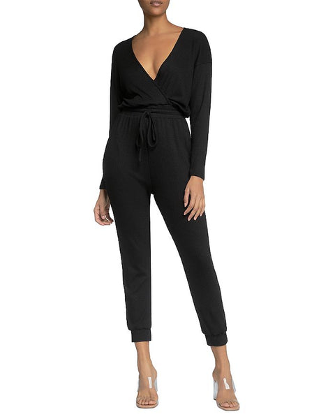 Elan Long Sleeve Ribbed Jumpsuit