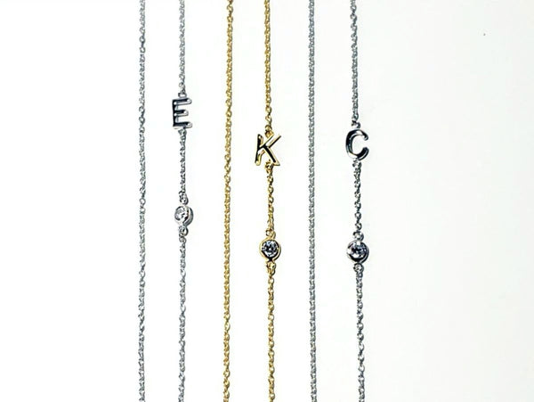 Initial and CZ Necklace - Gold