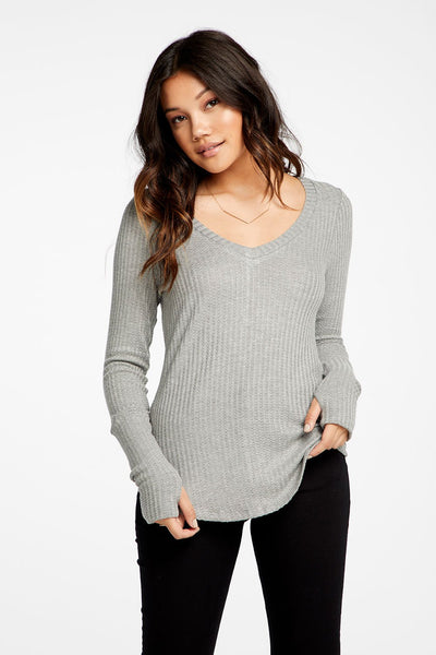 Chaser Vintage Thermal Cuffed Thumbhole Deep V Shirttail Tee