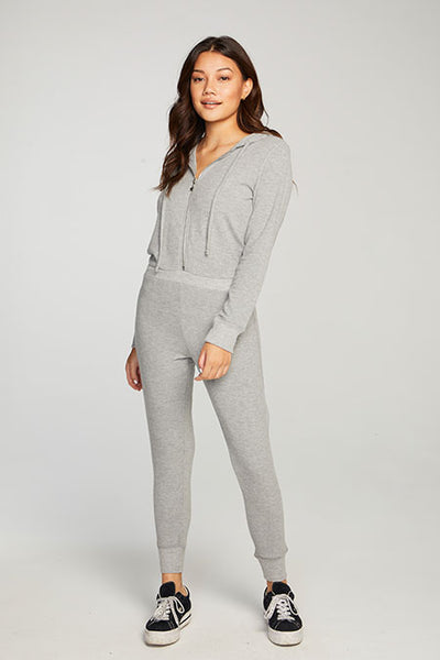 Chaser Bliss Knit LS Hooded Zip Up Onesie Jumpsuit