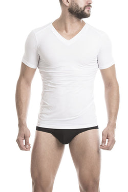 Unico V-Neck Short Sleeve T-Shirt White Microfiber