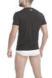 Unico V-Neck Short Sleeve T-Shirt BLACK Microfibre