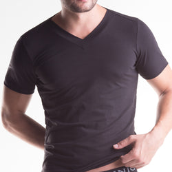 Unico V-Neck Short Sleeve T-Shirt Black