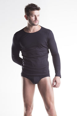 Unico Crew Neck Long Sleeve T-Shirt BUSO Black