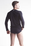 Unico Crew Neck Long Sleeve T-Shirt Black Cotton