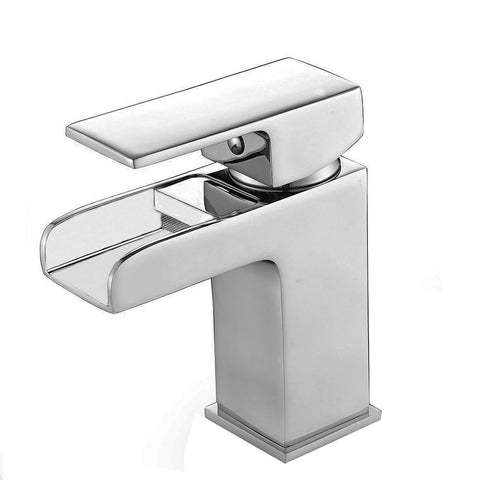 Square Waterfall Mono Chrome Basin Mixer Tap