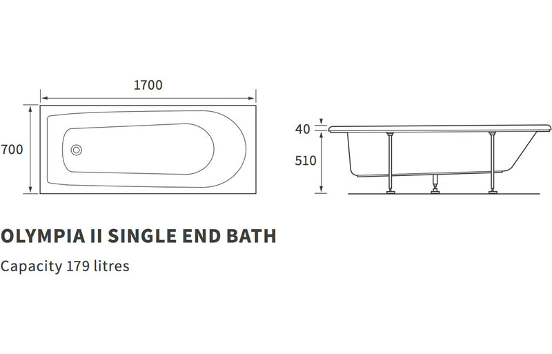 Olympia II Single End 1700x700 2TH Bath
