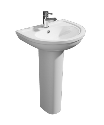 450mm Lifestyle Back to Wall 1th White Ceramic Pedestal Basin