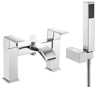 Square Chrome Bath Mixer Tap with Shower