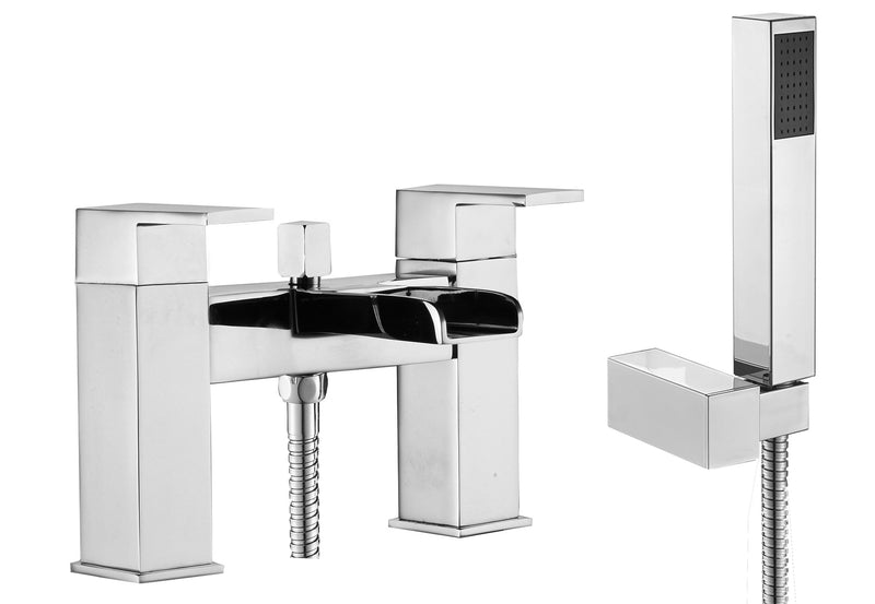Square Waterfall Chrome Bath Mixer Tap with Shower