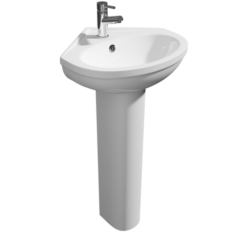 480mm Lifestyle Corner 1th White Ceramic Pedestal Basin