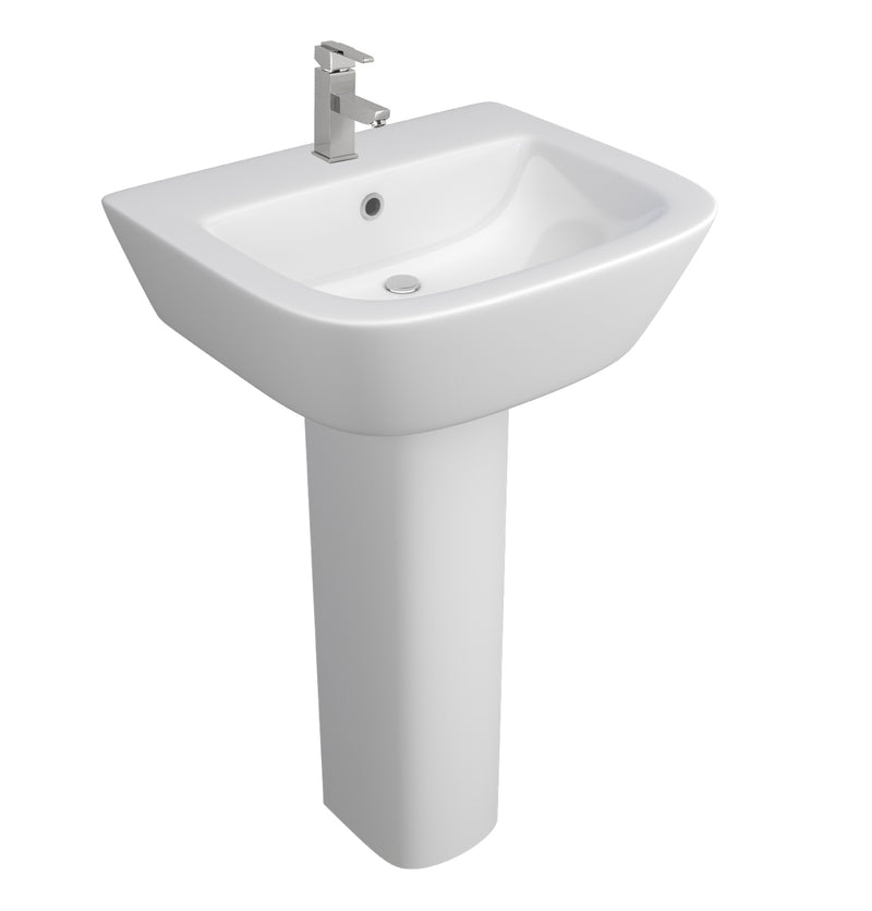 Project Square Back to Wall White Ceramic Square 1th Pedestal Basin