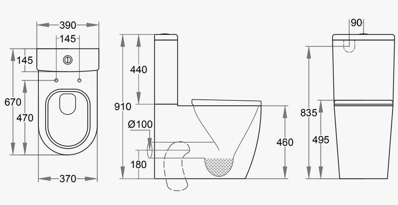 Comfort Height Close Coupled Toilet Dimensions