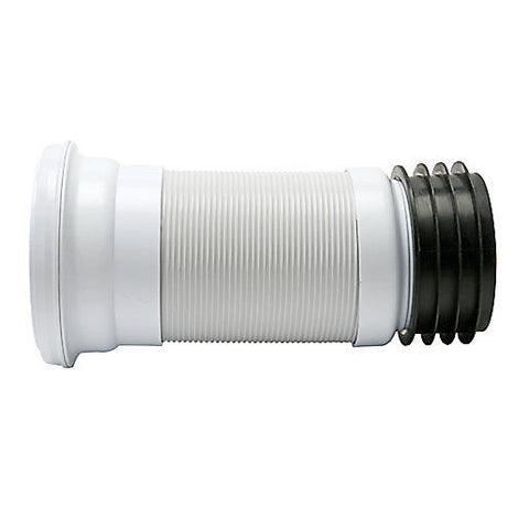 "4"" PVC WC Flexible Toilet Short Waste Connector Expandable 200mm to 350mm"