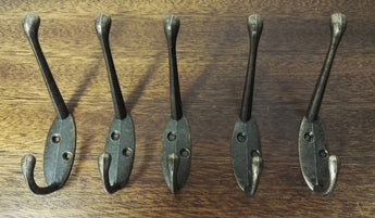5 x Classic Antique Cast Iron Style Double Cook Hook