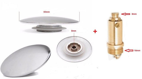 65mm Sink Plug Cover With End Thread Pop Up Mechanism