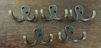5 x Antique Double Pronged Cast Iron Hook