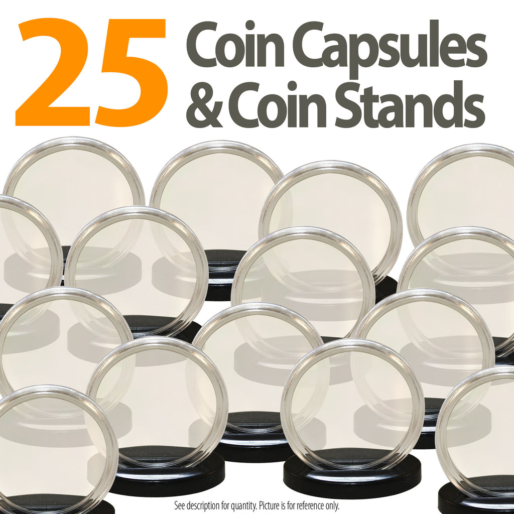 25 AIRTITE COIN HOLDER CAPSULE BLACK RING 24 MM QUARTER 25 CENTS