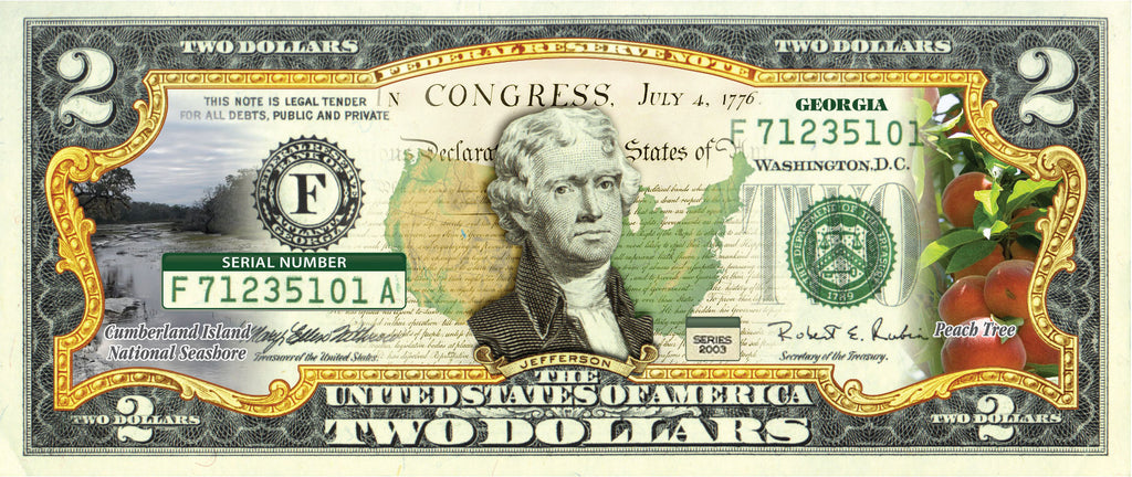 OFFICIAL Genuine Legal Tender $2 Bill Honoring America/'s 50 States WASHINGTON